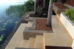 Pavescape-Landscapes Boral Paved steps, link block retaining wall