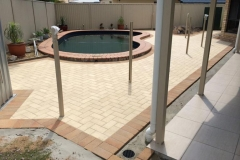 Paved pool area laying Claypave pavers